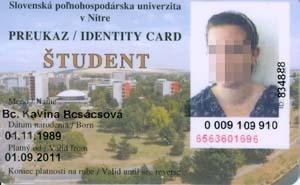 Preukaz študenta SPU v Nitre